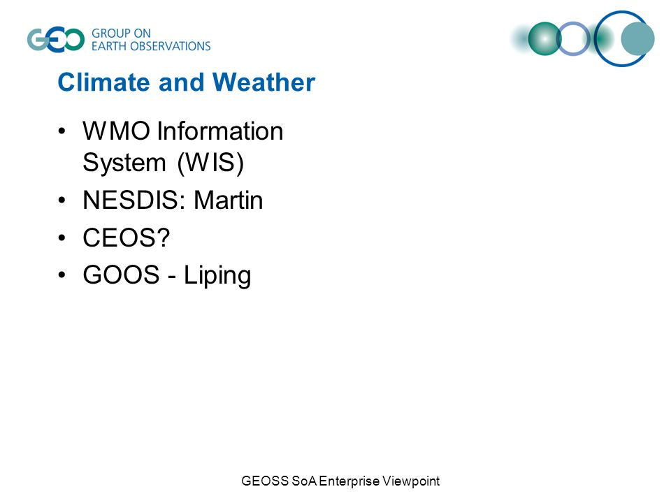 Climate and Weather WMO Information System (WIS) NESDIS: Martin CEOS.