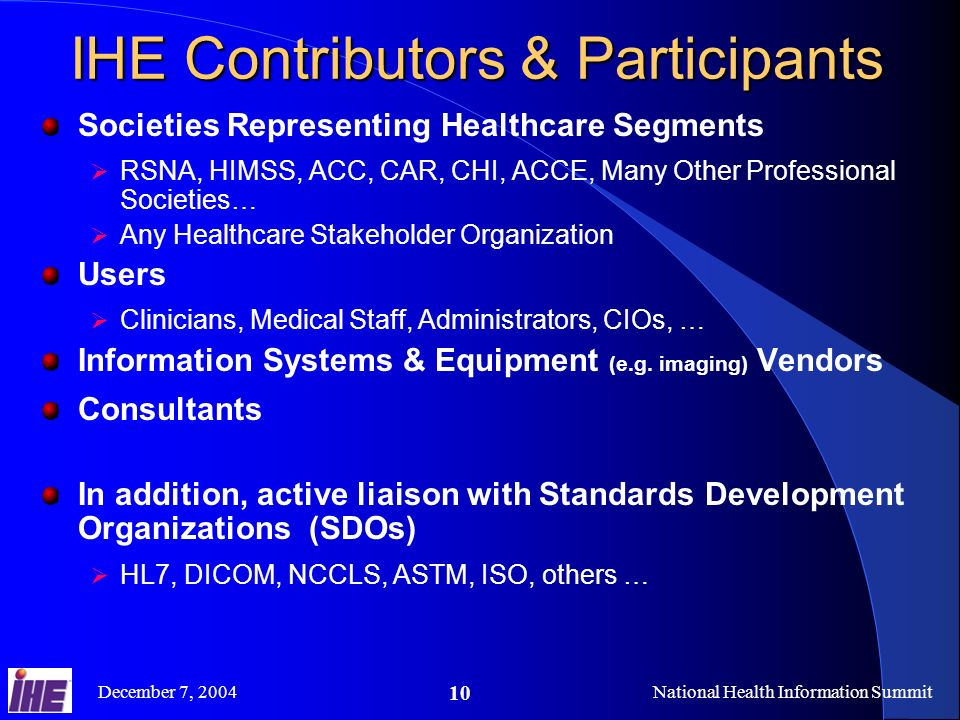 December 7, 2004National Health Information Summit 10 IHE Contributors & Participants Societies Representing Healthcare Segments RSNA, HIMSS, ACC, CAR, CHI, ACCE, Many Other Professional Societies… Any Healthcare Stakeholder Organization Users Clinicians, Medical Staff, Administrators, CIOs, … Information Systems & Equipment (e.g.