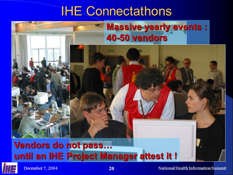 December 7, 2004National Health Information Summit 20 Massive yearly events : 40-50 vendors 120-160 engineers 70-80 systems ….integrated in 5 days IHE Connectathons Vendors do not pass… until an IHE Project Manager attest it !