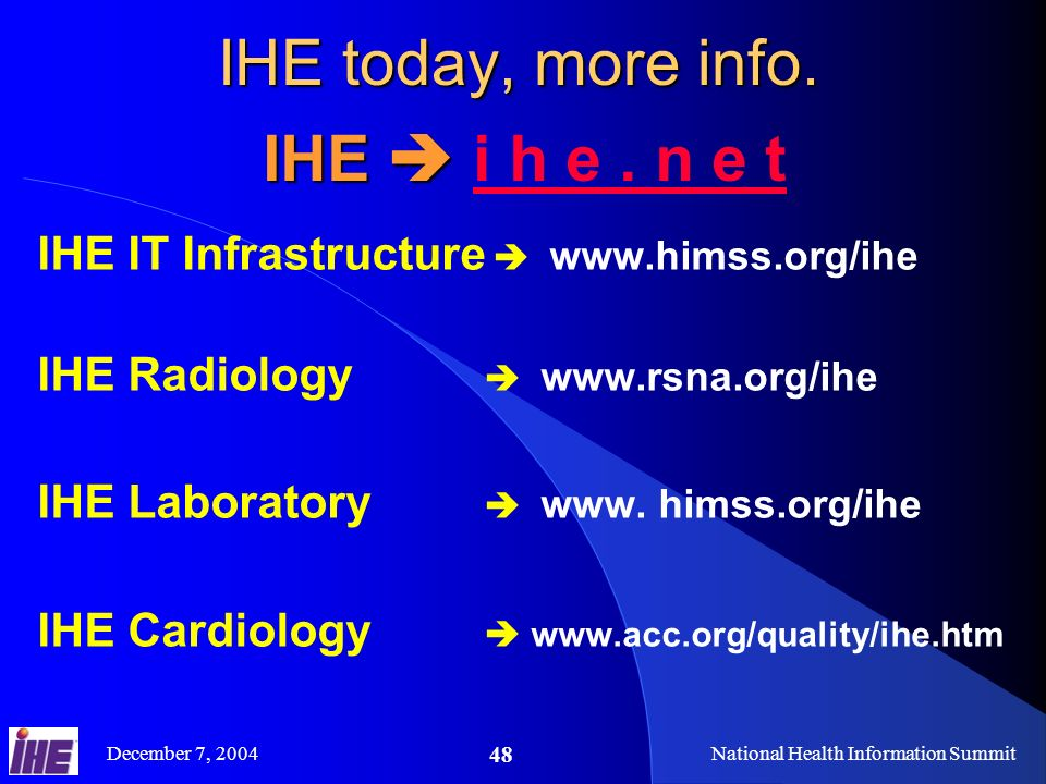 December 7, 2004National Health Information Summit 48 IHE today, more info.
