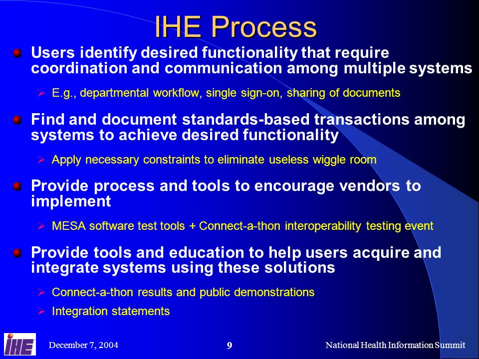December 7, 2004National Health Information Summit 9 IHE Process Users identify desired functionality that require coordination and communication among multiple systems E.g., departmental workflow, single sign-on, sharing of documents Find and document standards-based transactions among systems to achieve desired functionality Apply necessary constraints to eliminate useless wiggle room Provide process and tools to encourage vendors to implement MESA software test tools + Connect-a-thon interoperability testing event Provide tools and education to help users acquire and integrate systems using these solutions Connect-a-thon results and public demonstrations Integration statements