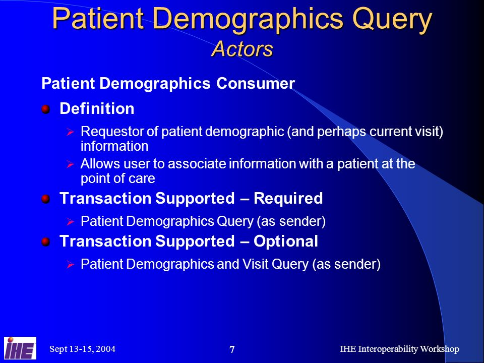 Sept 13-15, 2004IHE Interoperability Workshop 7 Patient Demographics Query Actors Patient Demographics Consumer Definition Requestor of patient demographic (and perhaps current visit) information Allows user to associate information with a patient at the point of care Transaction Supported – Required Patient Demographics Query (as sender) Transaction Supported – Optional Patient Demographics and Visit Query (as sender)