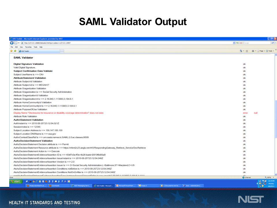 15 SAML Validator Output