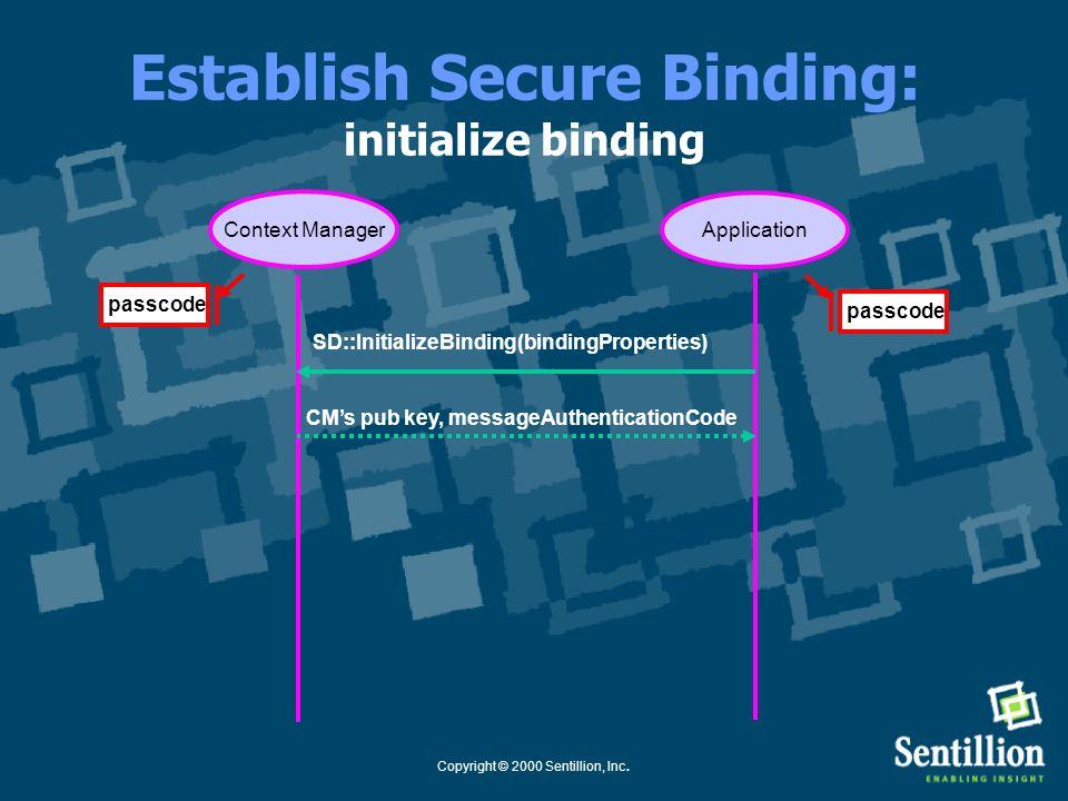 Copyright © 2000 Sentillion, Inc. Common Context System: Establish Secure Binding Use Case Application Healthcare Context Manager Secure Binding Estab