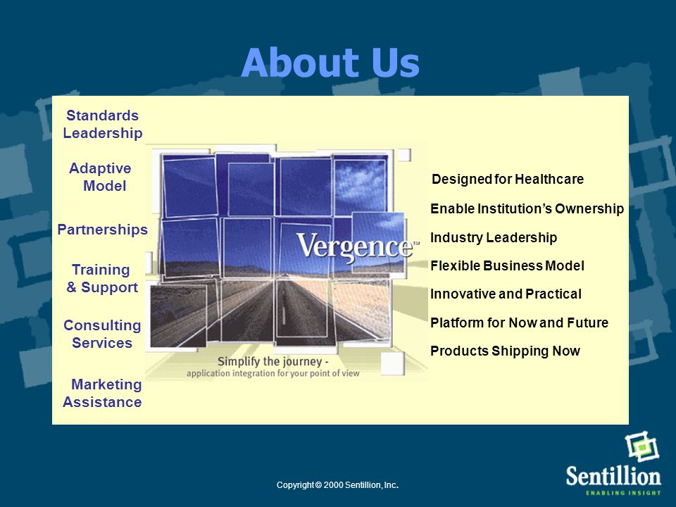 Copyright © 2000 Sentillion, Inc. *Vergence Application SDK Enables Windows applications to support CCOW V1.1, including: common links secure links cu