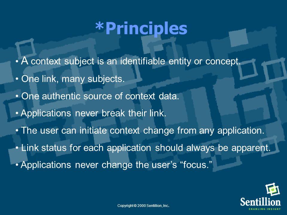 Copyright © 2000 Sentillion, Inc. CCOW Standard Status 1.0 (Ratified April 1999) Component Architecture Common Links: Patient Link Secure Links: User