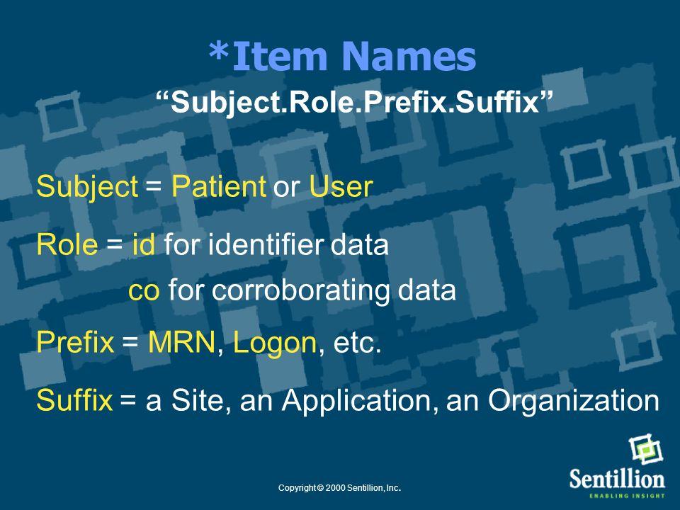 Copyright © 2000 Sentillion, Inc. Key Components Context Manager = Coordinator Context Participant = Application Mapping Agent = Identifier Correlatio
