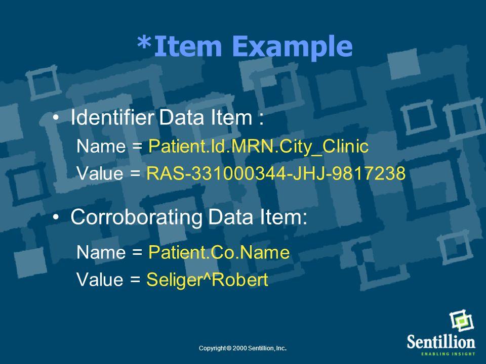 Copyright © 2000 Sentillion, Inc. *Item Names Subject.Role.Prefix.Suffix Subject = Patient or User Role = id for identifier data co for corroborating