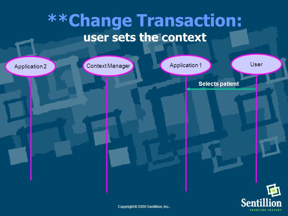 Copyright © 2000 Sentillion, Inc. Application **Common Context System: Change Transaction Use Case Healthcare Context Manager Change Transaction Parti