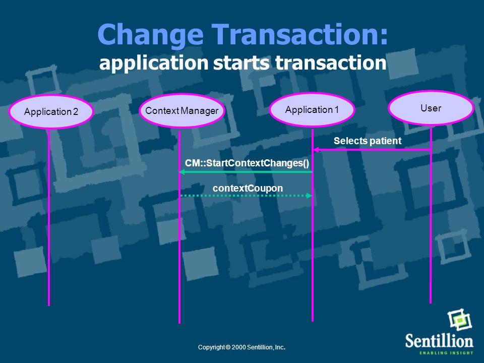 Copyright © 2000 Sentillion, Inc. **Change Transaction: user sets the context Application 1Context Manager Selects patient User Application 2