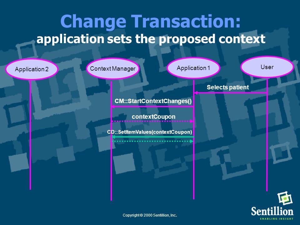 Copyright © 2000 Sentillion, Inc. Change Transaction: application starts transaction Application 1Context Manager CM::StartContextChanges() Selects pa