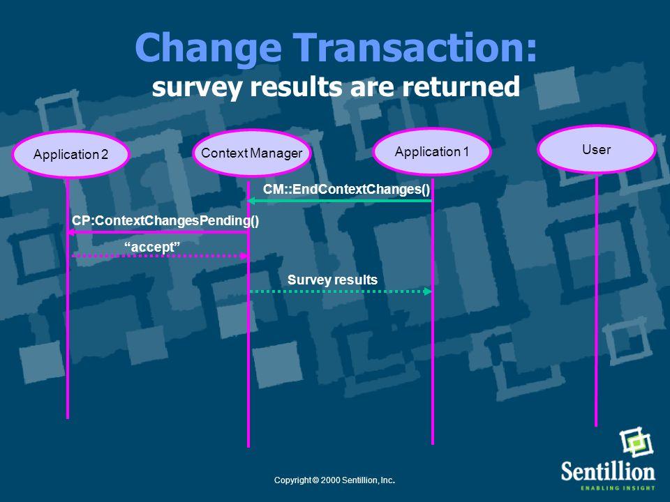 Copyright © 2000 Sentillion, Inc. Change Transaction: participants are surveyed --- all accept Application 1Context Manager CM::StartContextChanges()