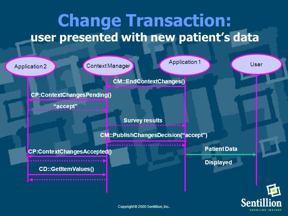 Copyright © 2000 Sentillion, Inc. Change Transaction: participants retrieve new context Application 1 Context Manager User Application 2 CM::EndContex