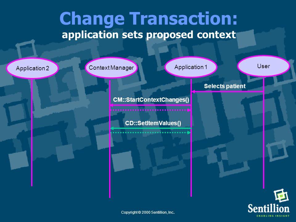 Copyright © 2000 Sentillion, Inc. Change Transaction: context transaction started Application 1Context Manager Selects patient User Application 2 CM::