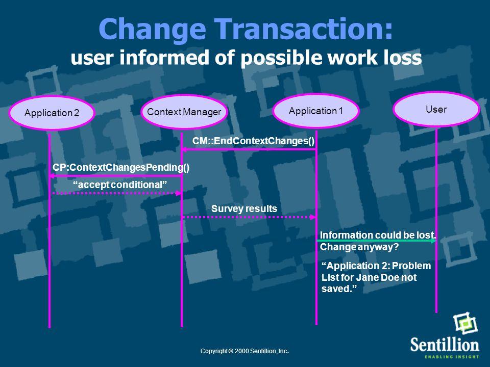 Copyright © 2000 Sentillion, Inc. Change Transaction: survey results returned Application 1Context Manager User Application 2 CM::EndContextChanges()