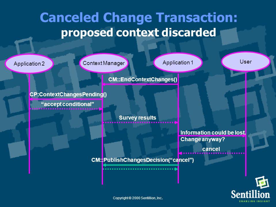 Copyright © 2000 Sentillion, Inc. Canceled Change Transaction: user cancels change transaction Application 1Context Manager User Application 2 CM::End