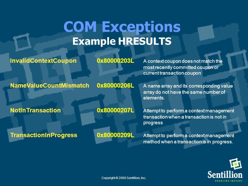 Copyright © 2000 Sentillion, Inc. COM Interface Definitions Example Interface import