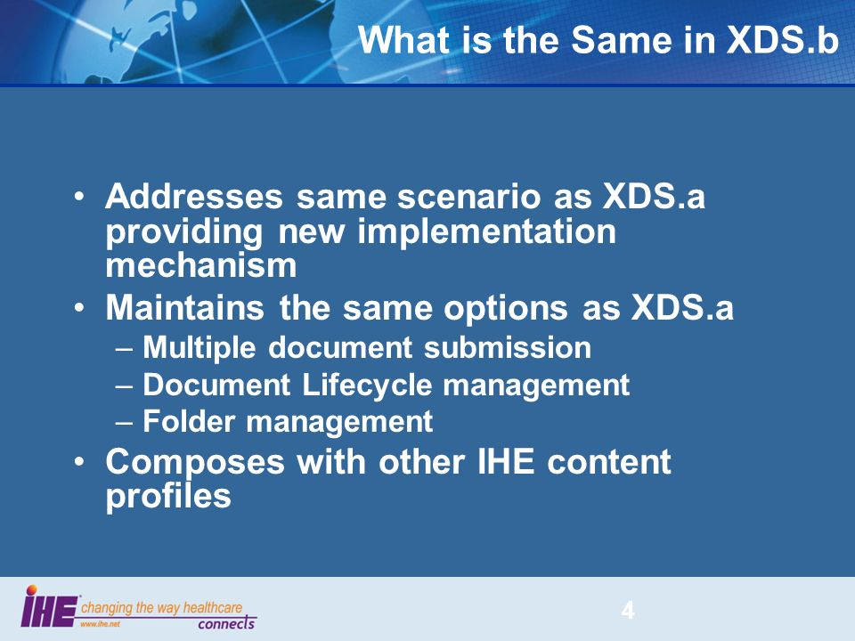 What is the Same in XDS.b Addresses same scenario as XDS.a providing new implementation mechanism Maintains the same options as XDS.a –Multiple docume