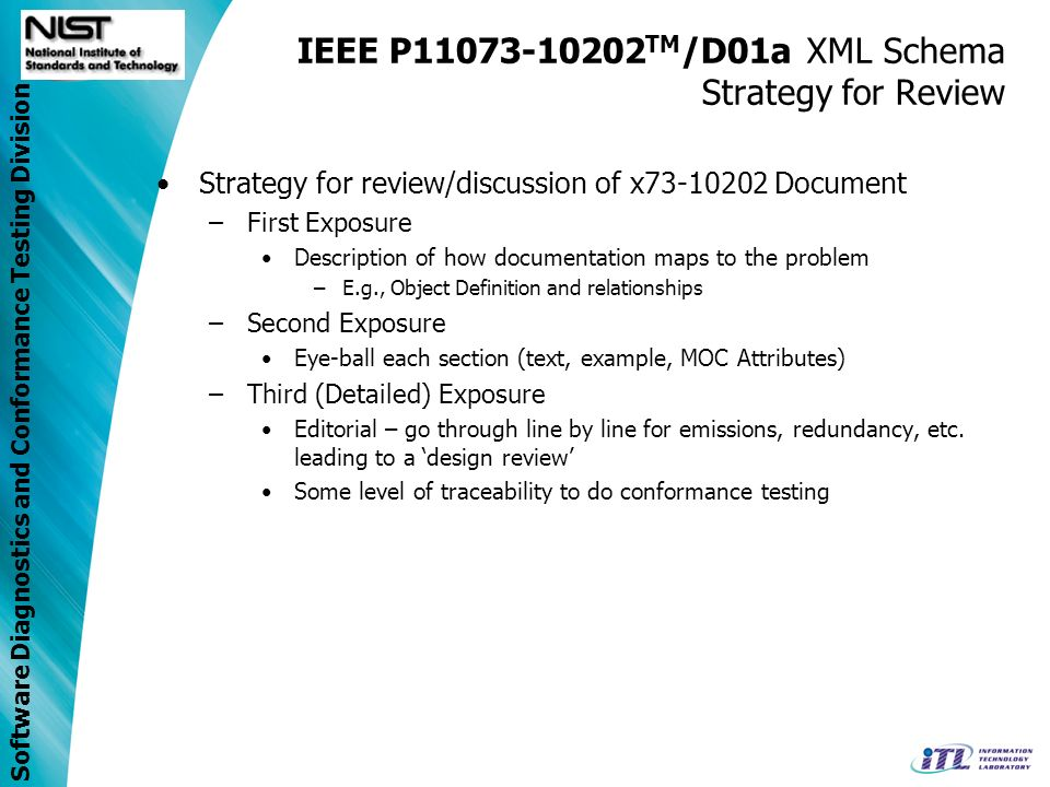 Software Diagnostics and Conformance Testing Division IEEE P11073-10202 TM /D01a XML Schema Strategy for Review Strategy for review/discussion of x73-