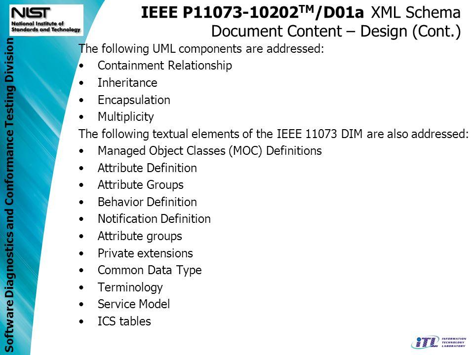 Software Diagnostics and Conformance Testing Division IEEE P11073-10202 TM /D01a XML Schema Document Content – Design (Cont.) The following UML compon