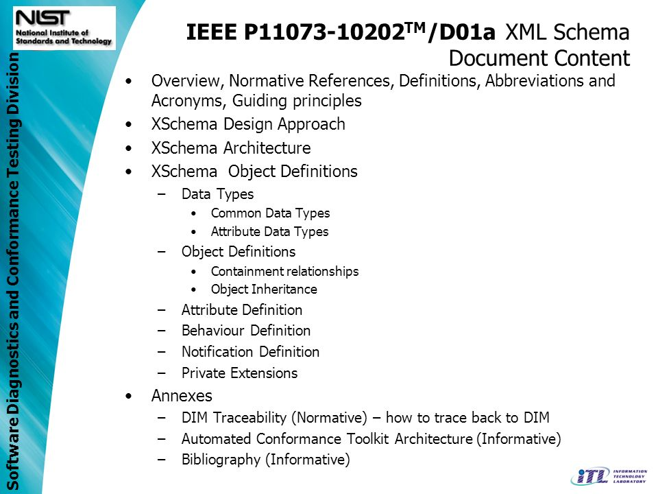 Software Diagnostics and Conformance Testing Division IEEE P11073-10202 TM /D01a XML Schema Document Content Overview, Normative References, Definitions, Abbreviations and Acronyms, Guiding principles XSchema Design Approach XSchema Architecture XSchema Object Definitions –Data Types Common Data Types Attribute Data Types –Object Definitions Containment relationships Object Inheritance –Attribute Definition –Behaviour Definition –Notification Definition –Private Extensions Annexes –DIM Traceability (Normative) – how to trace back to DIM –Automated Conformance Toolkit Architecture (Informative) –Bibliography (Informative)