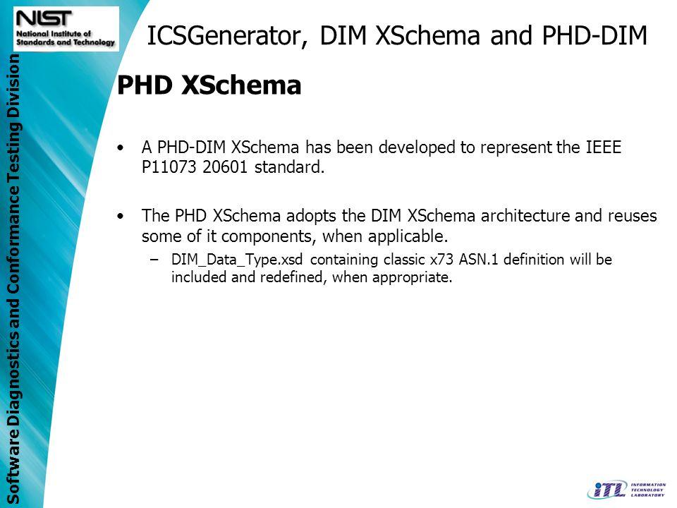 Software Diagnostics and Conformance Testing Division ICSGenerator, DIM XSchema and PHD-DIM PHD XSchema A PHD-DIM XSchema has been developed to repres