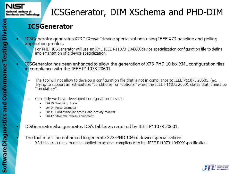 Software Diagnostics and Conformance Testing Division ICSGenerator, DIM XSchema and PHD-DIM ICSGenerator ICSGenerator generates X73 Classic device spe