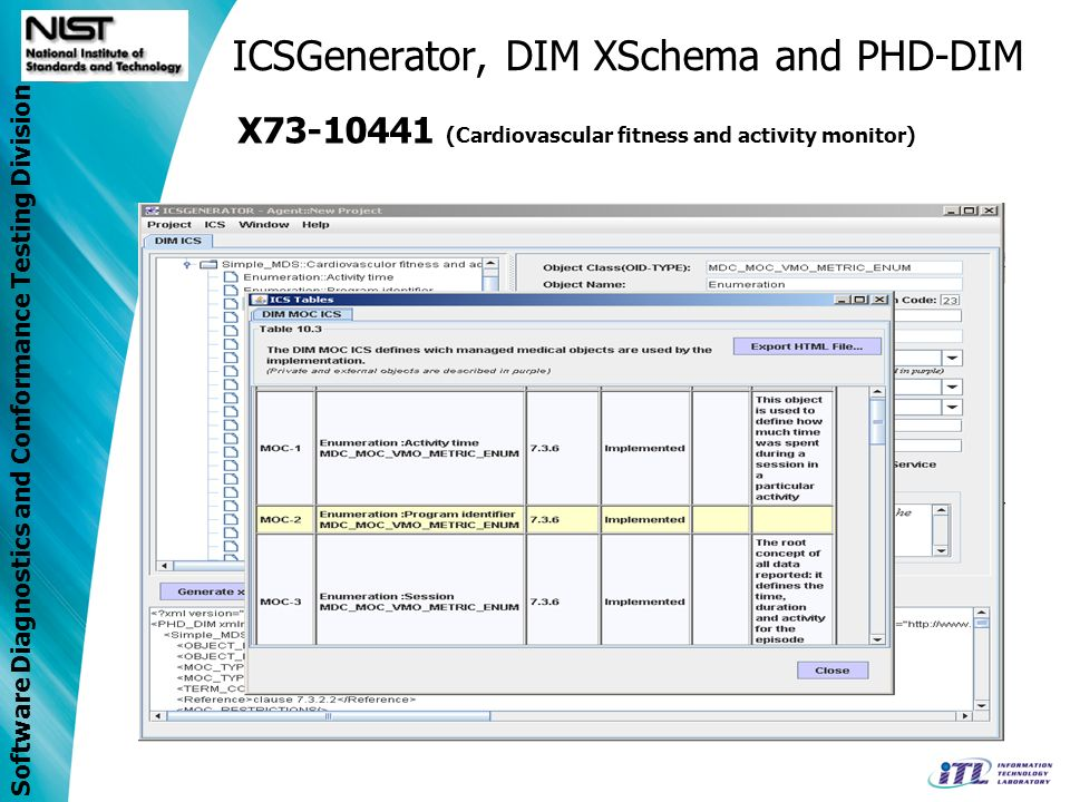 Software Diagnostics and Conformance Testing Division ICSGenerator, DIM XSchema and PHD-DIM X73-10441 (Cardiovascular fitness and activity monitor)