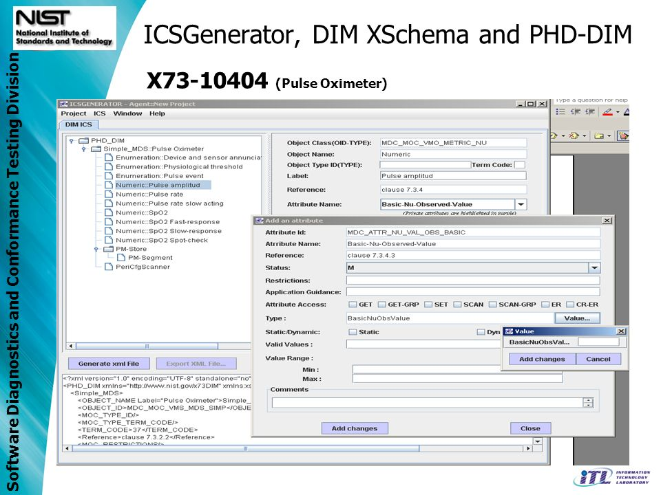Software Diagnostics and Conformance Testing Division ICSGenerator, DIM XSchema and PHD-DIM X73-10404 (Pulse Oximeter)