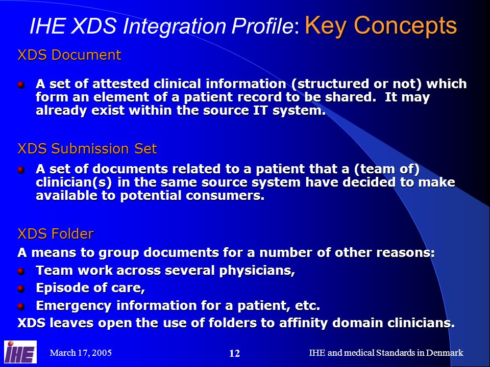 March 17, 2005IHE and medical Standards in Denmark 12 XDS Document A set of attested clinical information (structured or not) which form an element of
