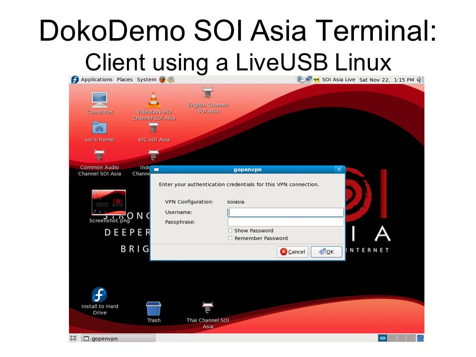 DokoDemo SOI Asia Terminal: Client using a LiveUSB Linux