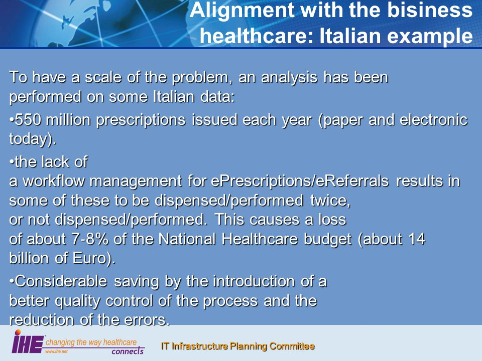 IT Infrastructure Planning Committee Alignment with the bisiness healthcare: Italian example To have a scale of the problem, an analysis has been performed on some Italian data: 550 million prescriptions issued each year (paper and electronic today).550 million prescriptions issued each year (paper and electronic today).