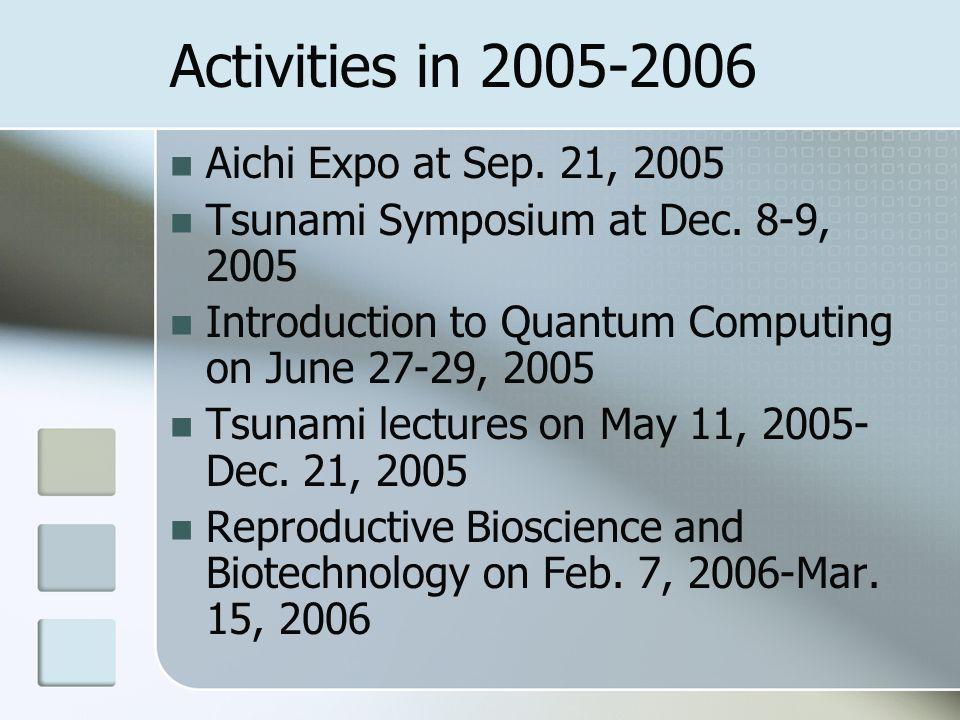 Activities in 2005-2006 Aichi Expo at Sep. 21, 2005 Tsunami Symposium at Dec.