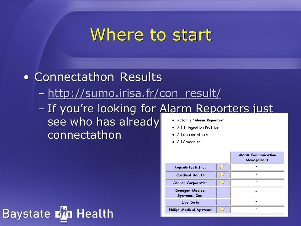 Where to start Connectathon Results –http://sumo.irisa.fr/con_result/http://sumo.irisa.fr/con_result/ –If youre looking for Alarm Reporters just see who has already passed connectathon Connectathon Results –http://sumo.irisa.fr/con_result/http://sumo.irisa.fr/con_result/ –If youre looking for Alarm Reporters just see who has already passed connectathon