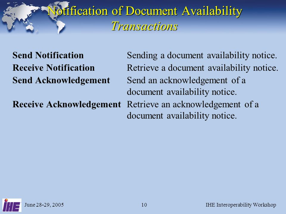 June 28-29, 2005IHE Interoperability Workshop10 Notification of Document Availability Transactions Send NotificationSending a document availability no