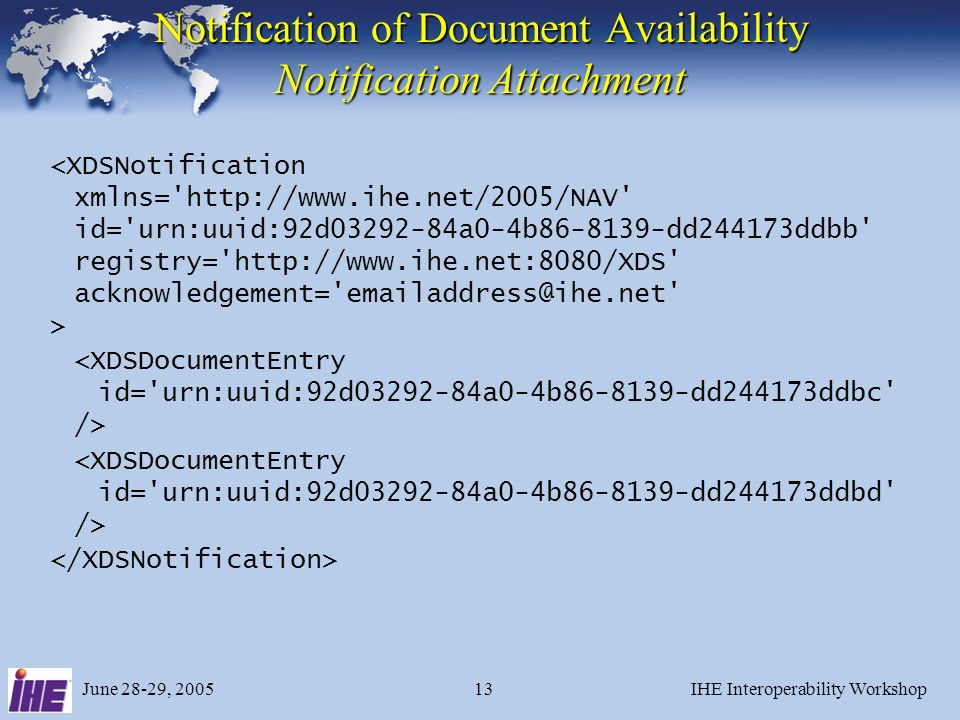 June 28-29, 2005IHE Interoperability Workshop13 Notification of Document Availability Notification Attachment