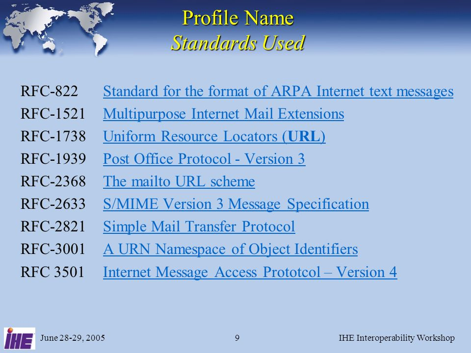 June 28-29, 2005IHE Interoperability Workshop9 Profile Name Standards Used RFC-822Standard for the format of ARPA Internet text messagesStandard for t