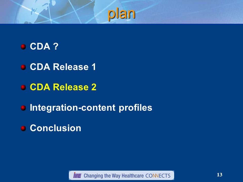 13 plan CDA CDA Release 1 CDA Release 2 Integration-content profiles Conclusion