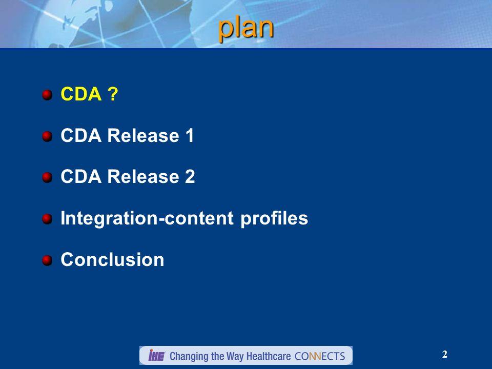 2 plan CDA CDA Release 1 CDA Release 2 Integration-content profiles Conclusion