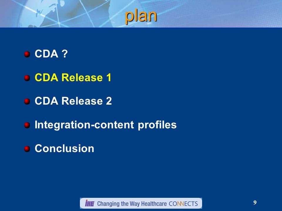 9 plan CDA CDA Release 1 CDA Release 2 Integration-content profiles Conclusion
