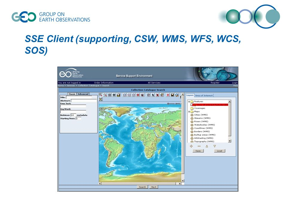 SSE Client (supporting, CSW, WMS, WFS, WCS, SOS)