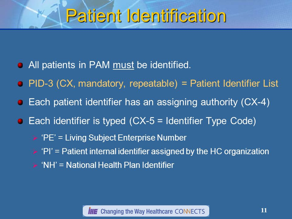 11 Patient Identification All patients in PAM must be identified.