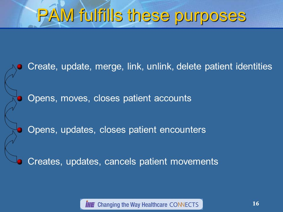 16 PAM fulfills these purposes Create, update, merge, link, unlink, delete patient identities Opens, moves, closes patient accounts Opens, updates, closes patient encounters Creates, updates, cancels patient movements