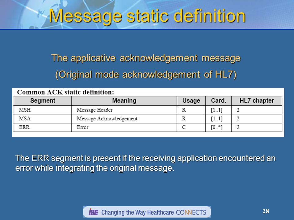 28 Message static definition The applicative acknowledgement message (Original mode acknowledgement of HL7) The ERR segment is present if the receiving application encountered an error while integrating the original message.