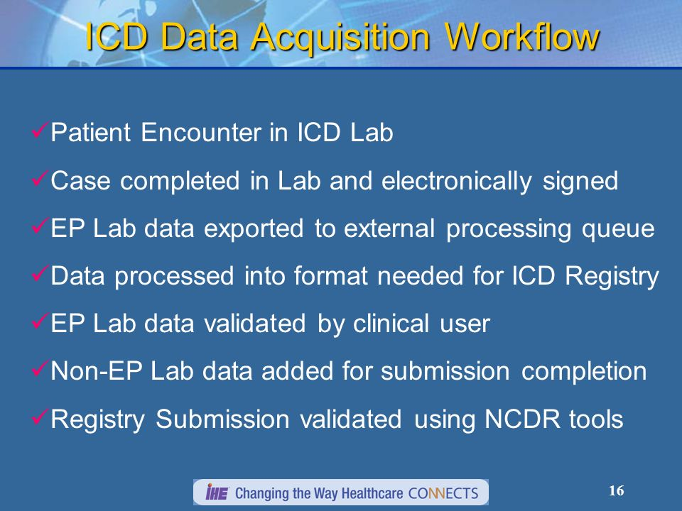 16 ICD Data Acquisition Workflow Patient Encounter in ICD Lab Case completed in Lab and electronically signed EP Lab data exported to external processing queue Data processed into format needed for ICD Registry EP Lab data validated by clinical user Non-EP Lab data added for submission completion Registry Submission validated using NCDR tools