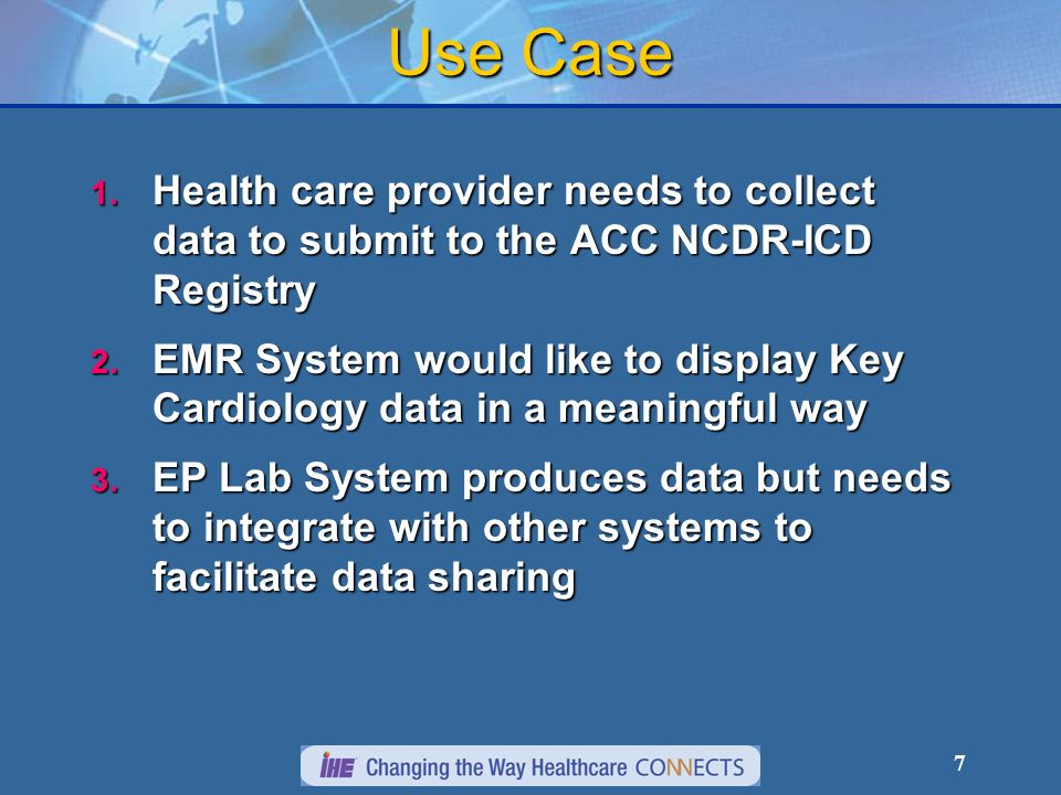 7 Use Case 1. Health care provider needs to collect data to submit to the ACC NCDR-ICD Registry 2.