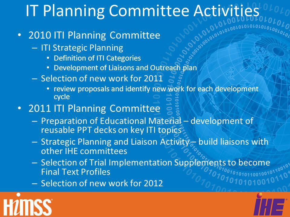 IT Planning Committee Activities 2010 ITI Planning Committee – ITI Strategic Planning Definition of ITI Categories Development of Liaisons and Outreac
