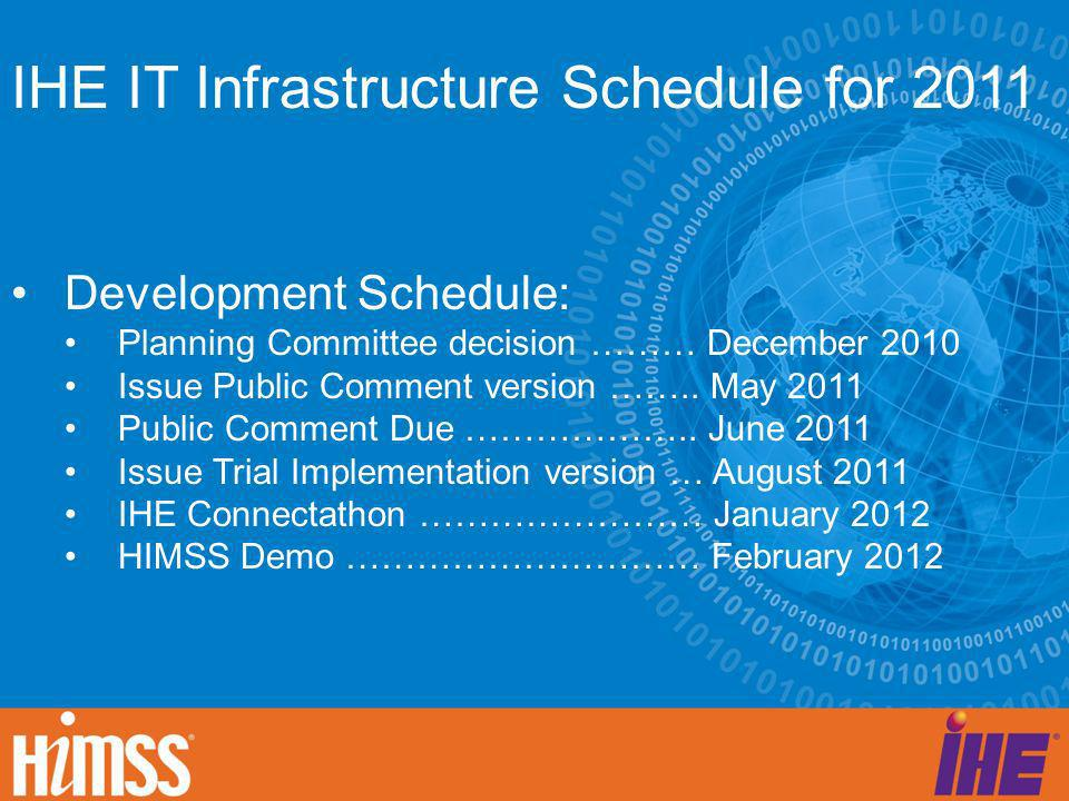 IHE IT Infrastructure Schedule for 2011 Development Schedule: Planning Committee decision ……… December 2010 Issue Public Comment version …….. May 2011