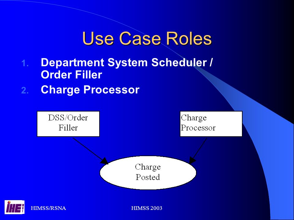 HIMSS/RSNAHIMSS 2003 Use Case Roles 1. Department System Scheduler / Order Filler 2. Charge Processor