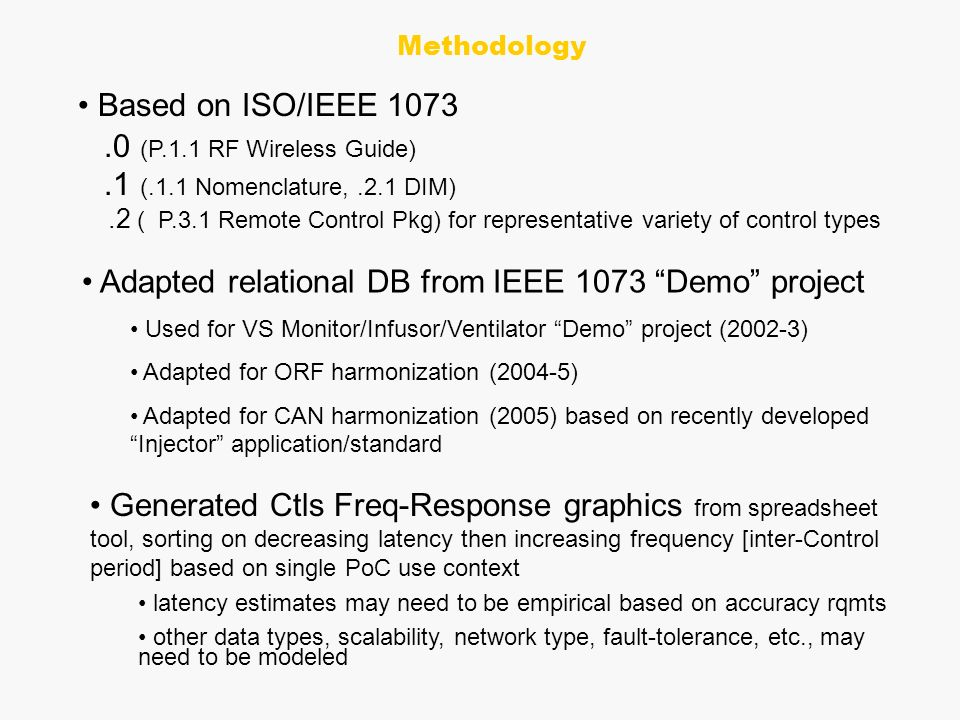 Based on ISO/IEEE (P.1.1 RF Wireless Guide).1 (.1.1 Nomenclature,.2.1 DIM).2 ( P.3.1 Remote Control Pkg) for representative variety of control types Adapted relational DB from IEEE 1073 Demo project Used for VS Monitor/Infusor/Ventilator Demo project (2002-3) Adapted for ORF harmonization (2004-5) Adapted for CAN harmonization (2005) based on recently developed Injector application/standard Generated Ctls Freq-Response graphics from spreadsheet tool, sorting on decreasing latency then increasing frequency [inter-Control period] based on single PoC use context latency estimates may need to be empirical based on accuracy rqmts other data types, scalability, network type, fault-tolerance, etc., may need to be modeled Methodology